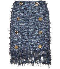 balmain short hw 8 btn fringed tweed skirt
