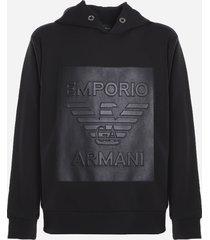 emporio armani cotton blend sweatshirt with rubber effect logo