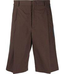valentino side panelled bermuda shorts - brown