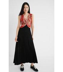 ethnic long dress - black - l