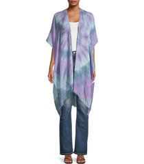 lulla collection by bindya women's asymmetrical tie-dyed kimono