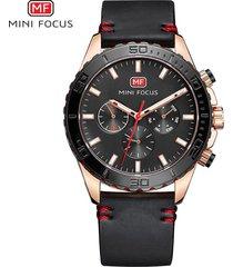 reloj para hombre/correa de piel/ mini focus / 0007g /-negro