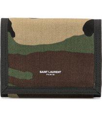 saint laurent camouflage printed wallet - multicolour