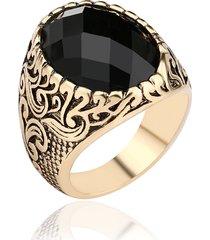 anello da dito da uomo vintage, grande anello punk nero con pietre preziose, gioielli steampunk per uomo