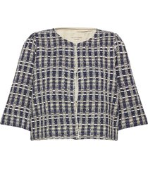 trine jacket blazers bouclé blazers blauw lollys laundry