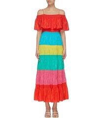 'kia' colourblock smocked tiered maxi off-shoulder dress