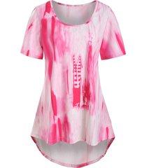 plus size tie dye high low t shirt