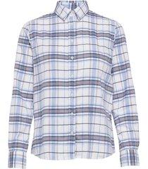 d1. check twill shirt overhemd met lange mouwen blauw gant