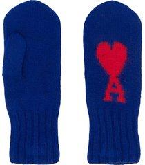 ami paris ami de coeur mittens - blue