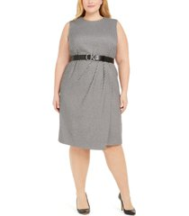 calvin klein plus size gathered sheath dress
