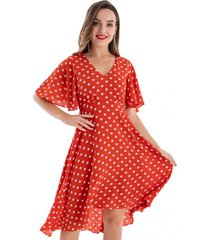 vestido lunares asimétrico naranjo nicopoly