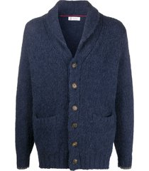 brunello cucinelli shawl-collar cardigan - blue