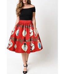 red christmas print  a-line swing skirt women high waist knee length flare skirt