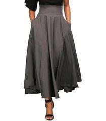 women's a-line, flared, vintage, high waist, gray, long, ankle length skirt