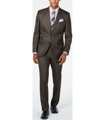 kenneth cole unlisted men's slim-fit brown sharkskin suit