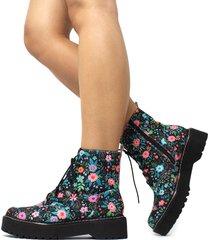 bota coturno damannu shoes kristy floral - preto - feminino - dafiti