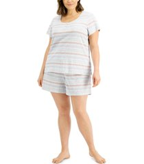 charter club plus size henley & shorts pajama set, created for macy's