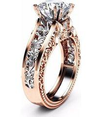 anello da sposa di lusso con petra di topazio intarsiata a 14k oro rosato floreale placcato traforato regalo per lei