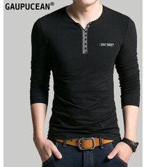 camiseta manga larga cuello-v casual gaupucean para hombre-negro