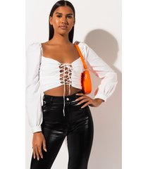 akira all mine lace up crop top