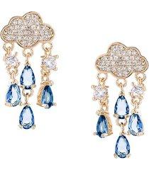 eye candy la women's luxe collection rain storm 18k goldplated & cubic zirconia dangle earrings