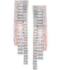 guess crystal & baguette-stone linear drop earrings