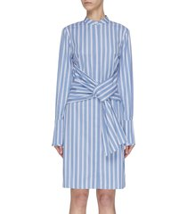 double stripe tie waist shirt dress