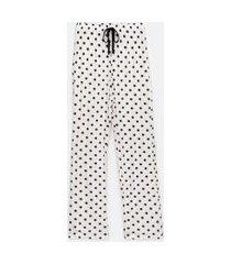 calça de pijama em viscose poá | lov | branco | m