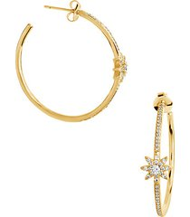 14k goldplated cubic zirconia starburst hoop earrings