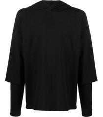 alchemy oversized layered-sleeve hoodie - black