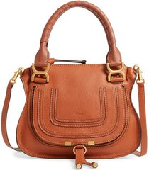 chloe small marcie leather satchel - brown