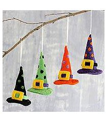 wool felt ornaments, 'magical hats' (set of 4) (india)