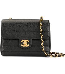 chanel pre-owned straight stitching chain shoulder bag - black