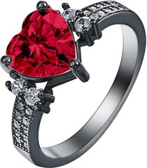 fashion women 10kt black gold filled heart solitaire ring wedding jewelry