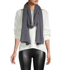 portolano women's striped oblong scarf - black multi