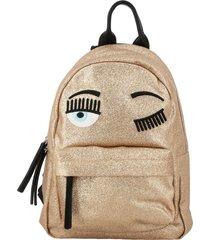 chiara ferragni backpack chiara ferragni backpack in glitter fabric with flirting embroidery