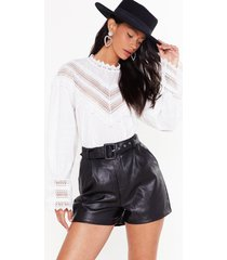 womens faux leather they like it or not high-waisted shorts - black