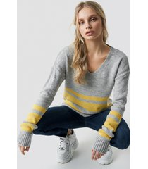 trendyol arm striped knitted sweater - grey,multicolor