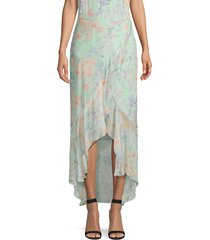 alice + olivia women's caily ruffled mock wrap skirt - water petal multi - size 6