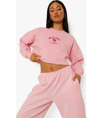 korte geborduurde malibu sweater, pale pink