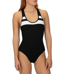 women's hurley block party one-piece swimsuit, size small - black
