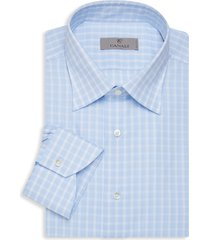 canali men's modern-fit check dress shirt - blue - size 18 45