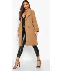 belted military double breasted trench coat, camel