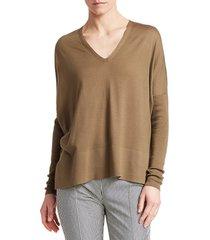 akris punto women's v-neck wool pullover sweater - cream - size 16