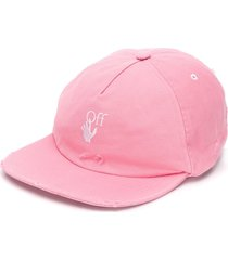 off-white distressed-effect embroidered-logo baseball cap - pink