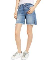 women's edwin cai high waist denim shorts, size 31 - blue