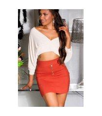 sexy hoge taille rok met zakken oranje