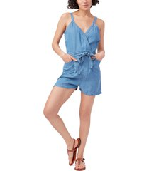 women's paige bettina sleeveless romper, size x-small - blue