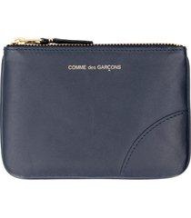 comme des garçons wallet logo detail flat leather pouch