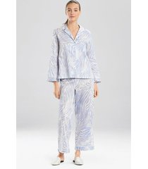 natori zebra, cotton sateen notch pajamas, women's, 100% cotton, size xl natori